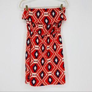 Karlie Red Geometric Strapless Ruffle Mini Dress S
